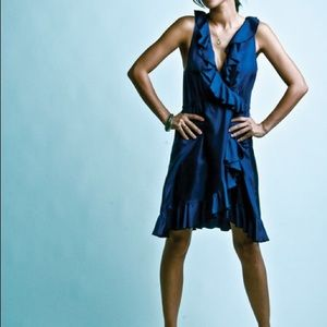 LA Made Blue Faux Wrap Dress